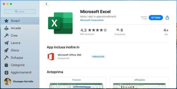 Scaricare Excel su Mac