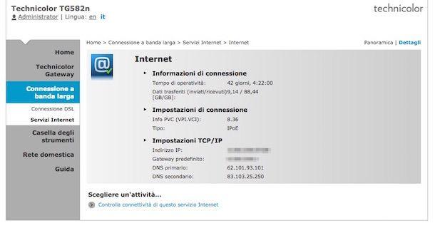 Screenshot che mostra come cambiare DNS Fastweb