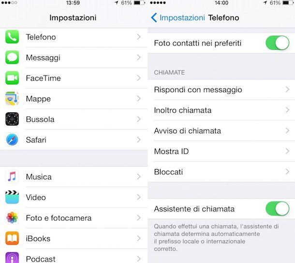 Screenshot che mostra come disattivare segreteria telefonica Wind