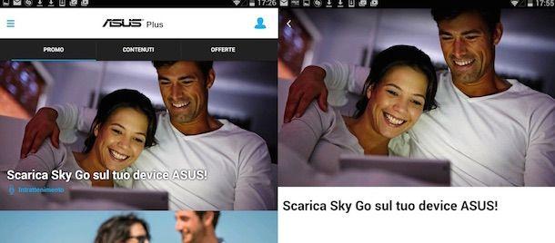 Screenshot che mostra come scaricare Sky Go per Android