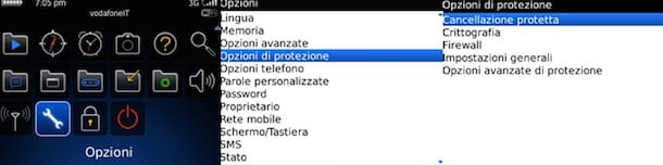 Screenshot che mostra come resettare BlackBerry