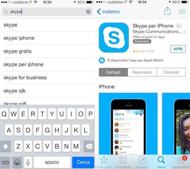 Screenshot che mostra come scaricare Skype gratis italiano