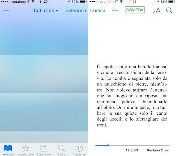 Screenshot che mostra come leggere file ePub
