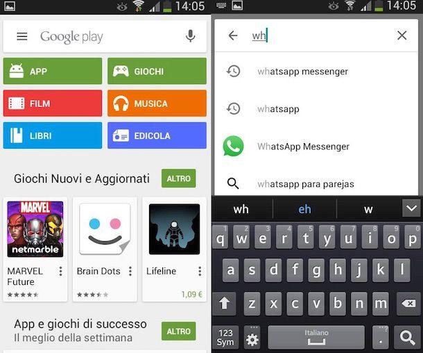 download gratuito di whatsapp per Samsung Galaxy e giochi