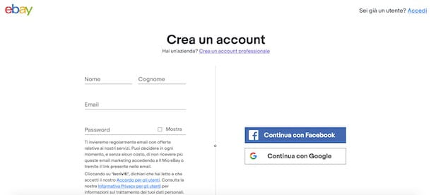 Creare un account su eBay