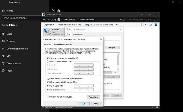 cambiare DNS Fastweb da Windows