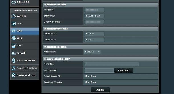 cambiare DNS Fastweb da modem