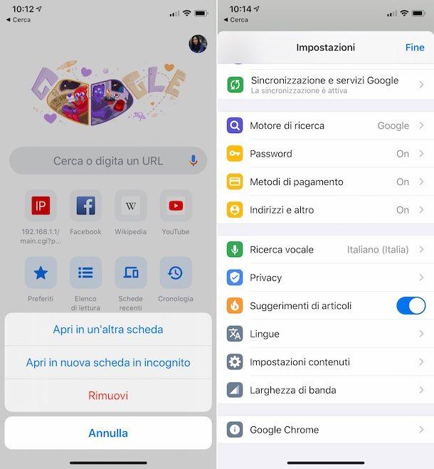 Pagina nuova scheda Chrome iOS