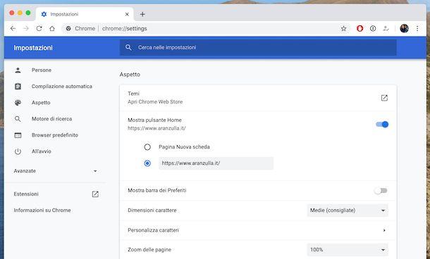 Pagina iniziale Chrome macOS
