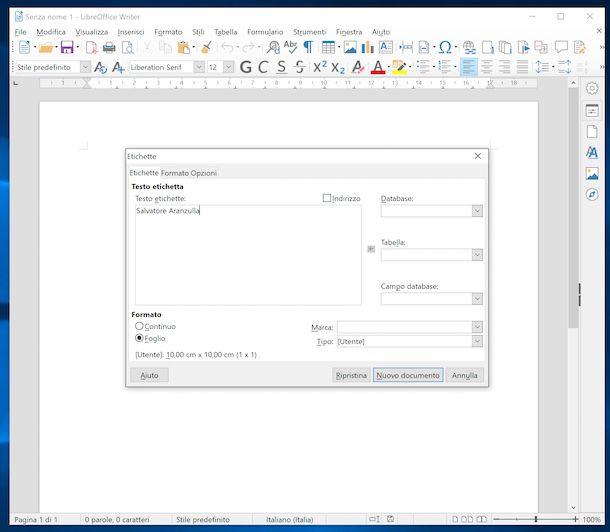 Stampare etichette con LibreOffice