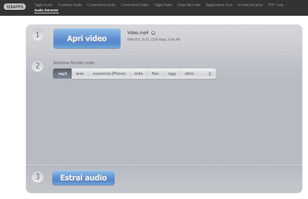 Audio Extractor di 123apps