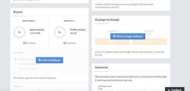 Attivare database Altervista