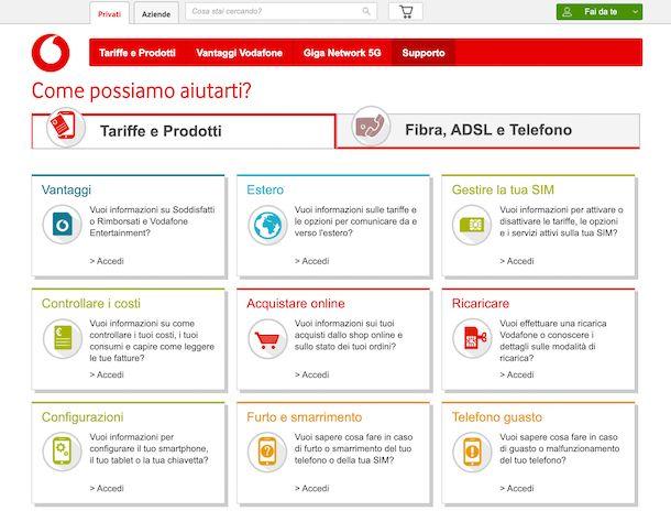 Supporto Vodafone