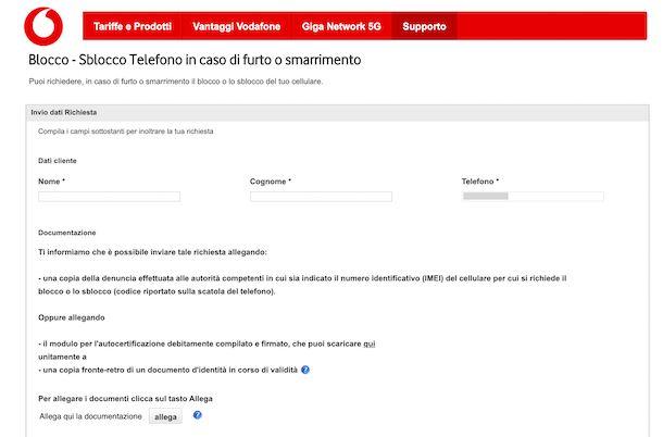 Modulo Vodafone per il blocco del telefono