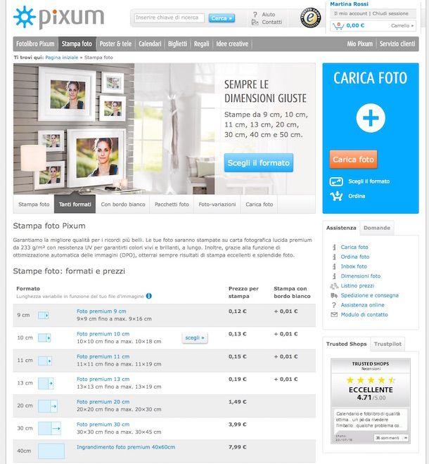 Screenshot che mostra come stampare online