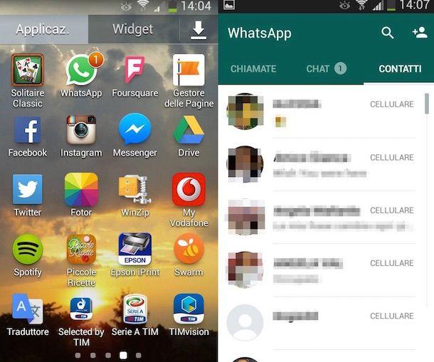 Screenshot che mostra come scaricare WhatsApp gratis per Samsung