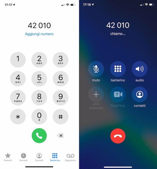 Chiamata al 42010 di Vodafone