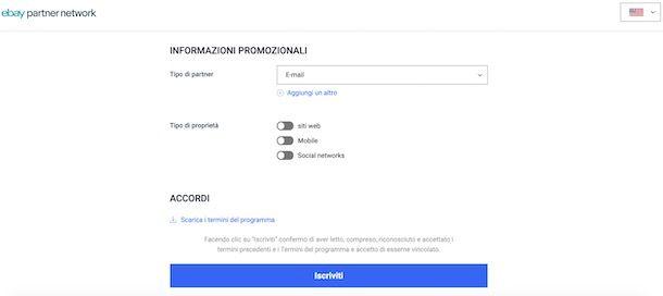 Iscrizione eBay Partner Network