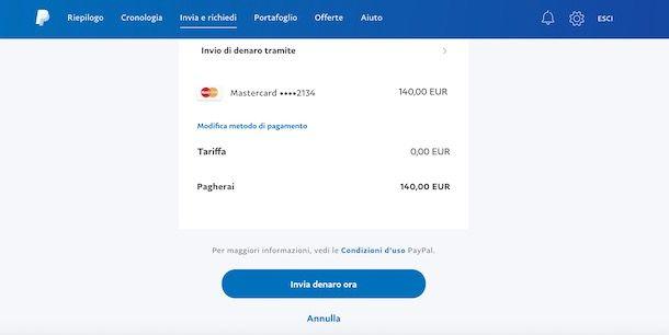 Inviare denaro tramite email su PayPal