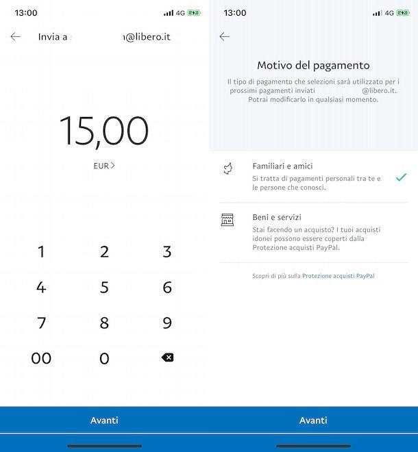 Inviare denaro tramite email su PayPal da app