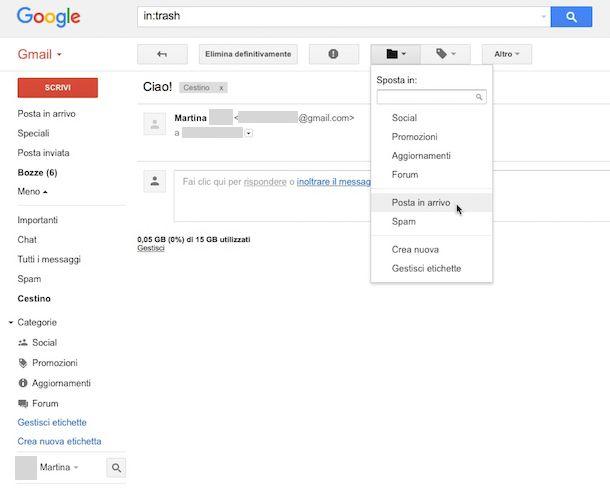 Come recuperare email cancellate Gmail