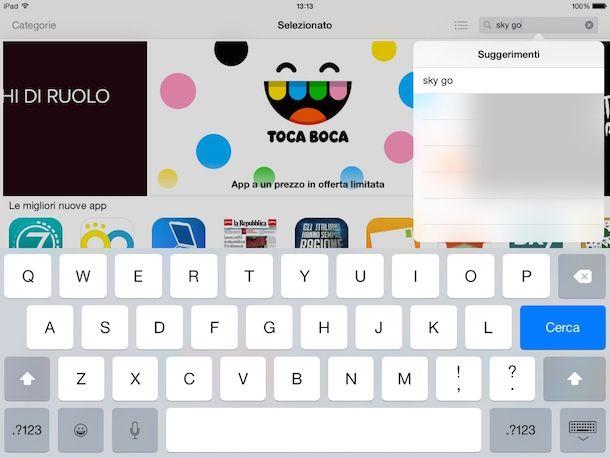 Screenshot che mostra come attivare Sky Go su tablet
