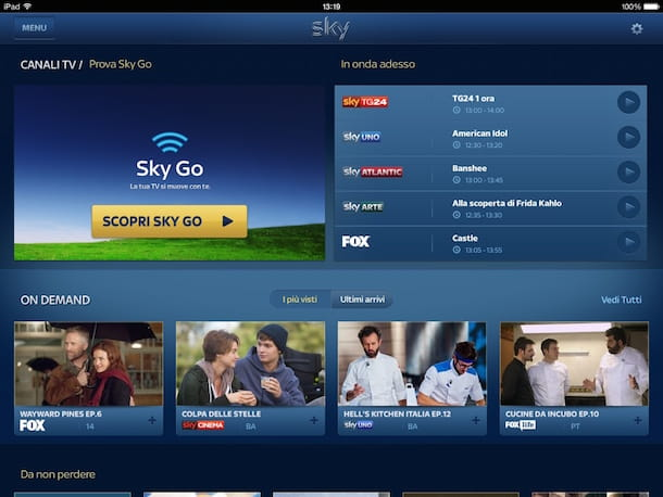 Screenshot che mostra come attivare Sky Go su tablet