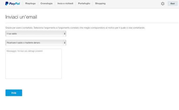 Screenshot che mostra come contattare PayPal