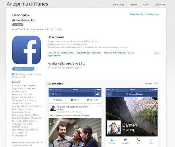 Screenshot che mostra come installare Facebook