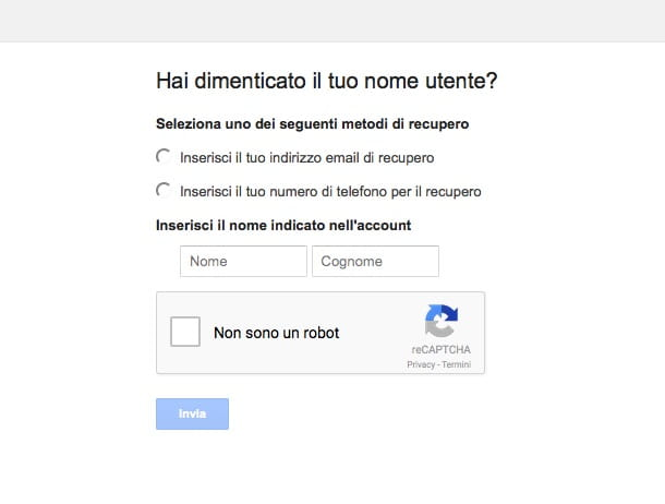 Screenshot che mostra come recuperare account Google