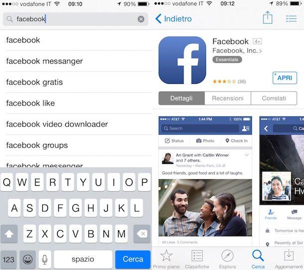 Screenshot che mostra come installare Facebook