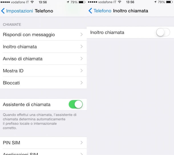 Screenshot che mostra come disabilitare segreteria Vodafone