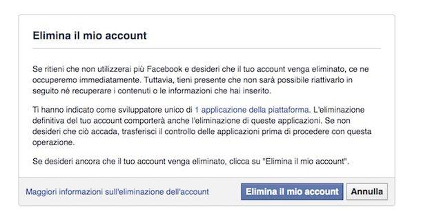 Come cancellarsi da Facebook