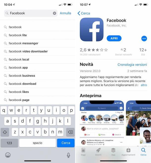 Come installare Facebook