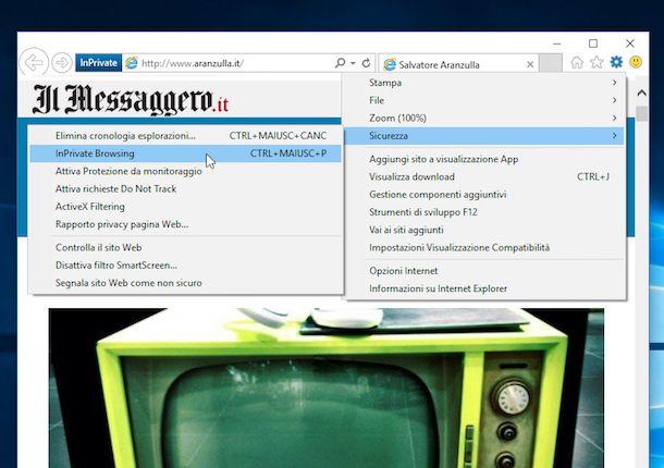 Navigazione incognito Internet Explorer