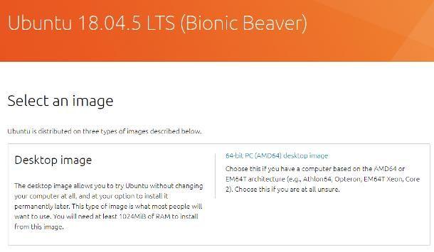 Ubuntu download: 18.04