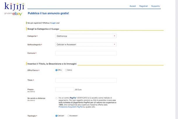 Screenshot che mostra come vendere telefoni usati