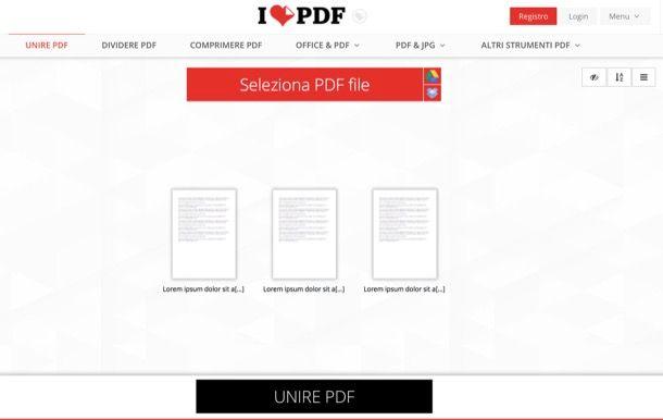 Unire PDF