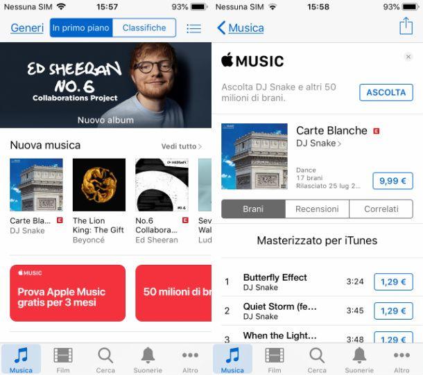 Scaricare musica da iTunes su iPhone