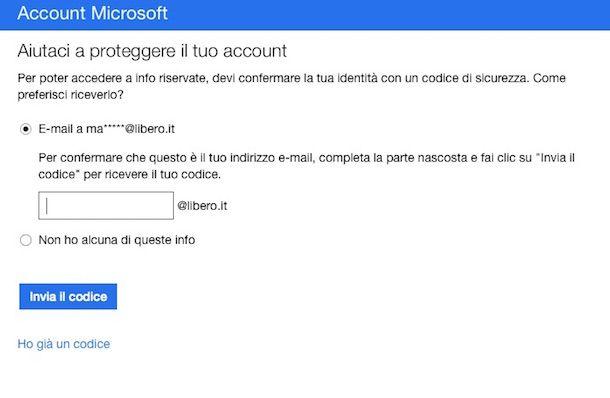 Screenshot che mostra come chiudere account Hotmail