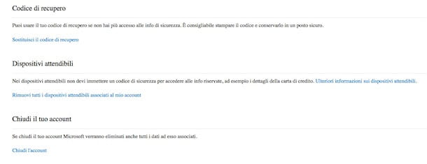 Screenshot che mostra come chiudere account Hotmail