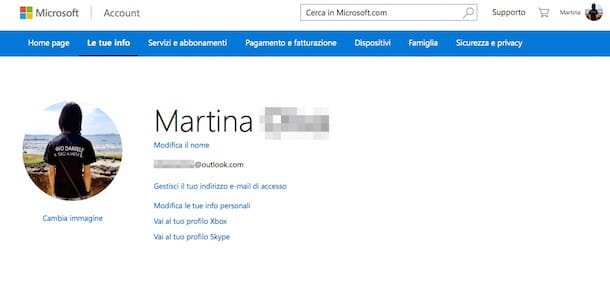 Screenshot del sito Internet di Microsoft