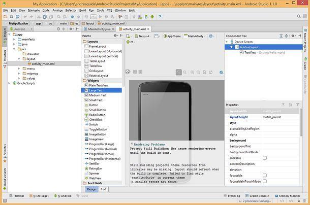 Screenshot che mostra la schermata di Android Studio