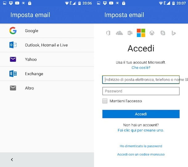 Come configurare Hotmail su Android