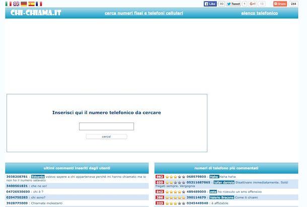 Screenshot del sito Web Chi chiama