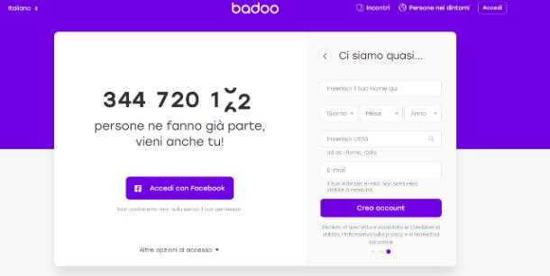 Come accedere a Badoo