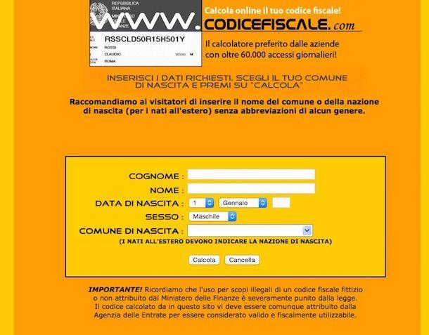 Screenshot che mostra come risalire al codice fiscale online