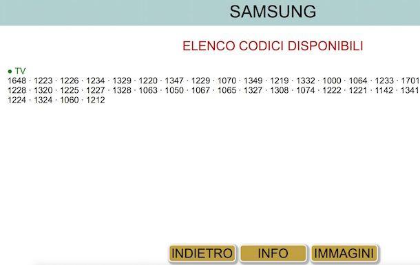 Screenshot che mostra alcuni codici sul sito Meliconi per programmare telecomando universale