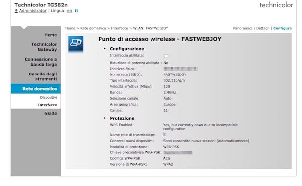 Screenshot che mostra come cambiare password WiFi