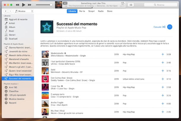 Screenshot che mostra l'uso di Apple Music su iTunes